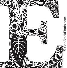Floral E - Floral initial capital letter E
