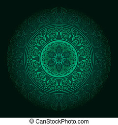 Green vintage floral background. Vector illustration