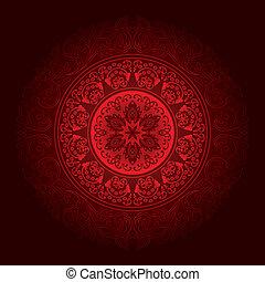 Red vintage floral background