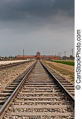 Auschwitz - Main entrance to Auschwitz Birkenau...
