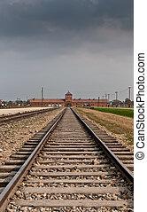 Auschwitz - Main entrance to Auschwitz Birkenau...
