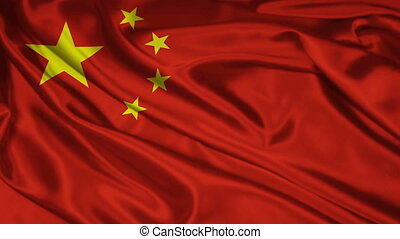 Chinese flag - The flag of China waving