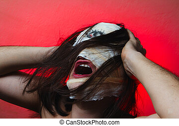 horrible, tipo, asustadizo, boca, Uno, ojo, esquizofrenia