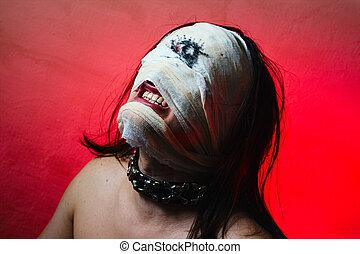 horrible, tipo, asustadizo, boca, Uno, ojo, extremo,...