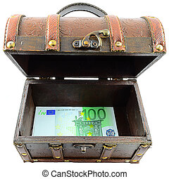 Treasure Chest With Euro Banknotes On A White Background