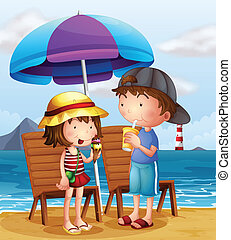 Two kids at the beach near the wooden chairs - Illustration...