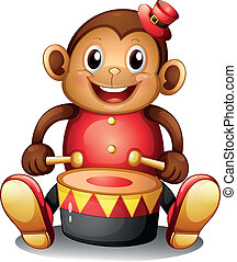 A musical monkey toy - Illustration of a musical monkey toy...