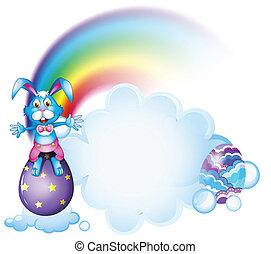 A bunny above the egg near the rainbow - Illustration of a...