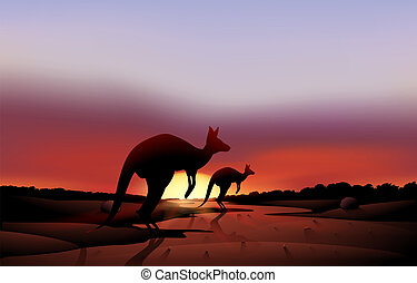 A big and a small kangaroo in the desert - Illustration of a...