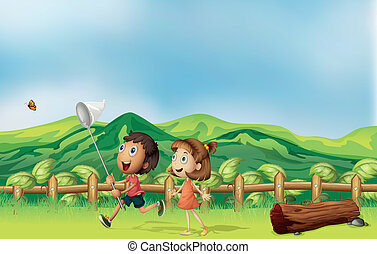 Kids playing across the mountain - Illustration of the kids...