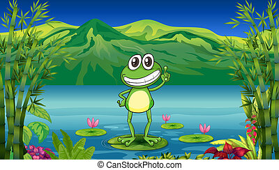 A frog standing above a water lily - Illustration of a frog...