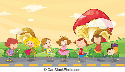 Kids playing at the roadside - Illustration of kids playing...