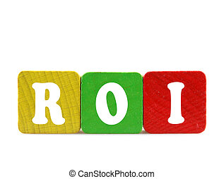 roi - isolated text in wooden building blocks