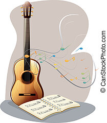 A guitar with a musical book - Ilustration of a guitar with...
