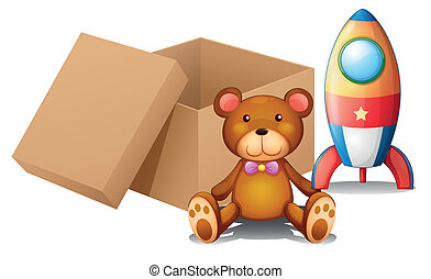 Two toys beside a box