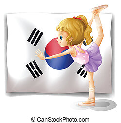 A ballet dancer in front of the South Korean flag