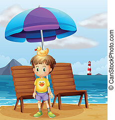 A boy with a rubber duck at the beach - Illustration of a...