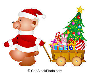 Teddy bear  - Christmas Teddy bear with little toy wagon