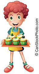 A young baker holding a tray with cupcakes - Illustration of...