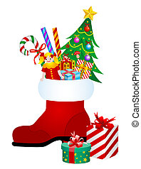 Christmas boot with gifts and toys