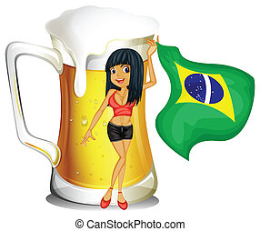 A big mug of beer with a brazilian lady - Illustration of a...