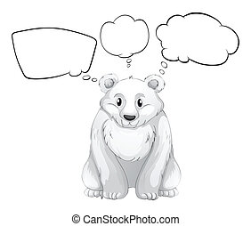 A white polar bear with empty thoughts - Illustration of a...