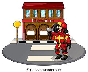 A fireman holding an ax - Illustration of a fireman holding...