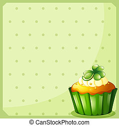 A stationery with a green cupcake - Illustration of a...