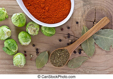 spices and fresh raw brussels sprou