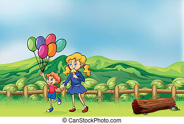 A happy child with balloons and a girl eating an ice cream -...