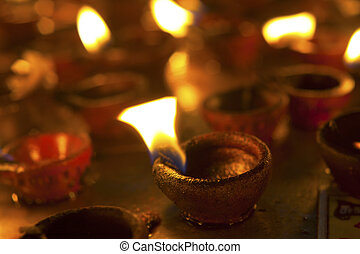 Candles at Meenakshi hindu temple in Madurai, Tamil Nadu