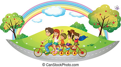 Children riding in a bicycle - Illustration of the children...