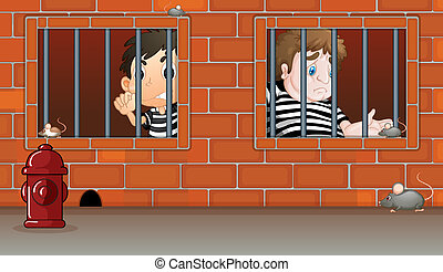 Men in the jail - Illustration of the men in the jail