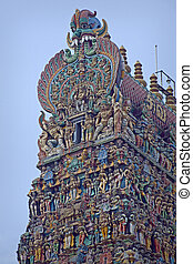 colorful reliefs of Hindu gods in the temple of Meenakshi