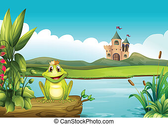 A frog with a crown at the river - Illustration of a frog...