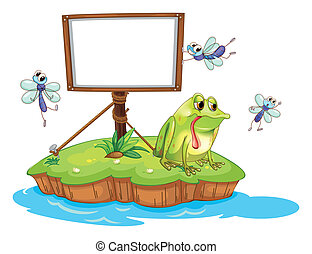 A sad frog and a white blank board