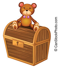 A bear at the top of a treasure chest - Illustration of a...