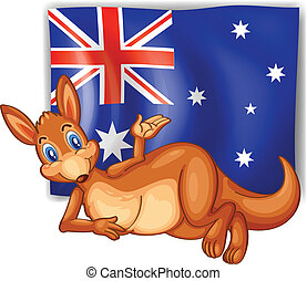 A kangaroo in front of the Australian flag - Illustration of...