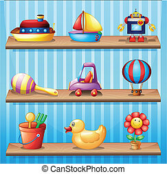 Three wooden shelves with different toys - Illustration of...