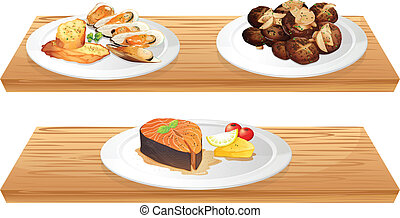 Two wooden shelves with foods