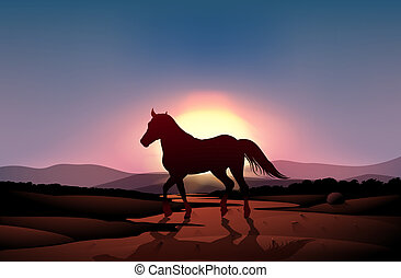 A sunset with a horse - Illustration of a sunset with a...