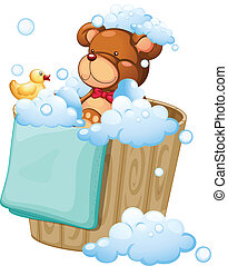 A bear taking a bath - Illustration of a bear taking a bath...