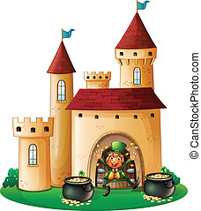A man in front of a castle with two pots of gold -...