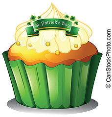 A cupcake for the celebration of St. Patrick's day