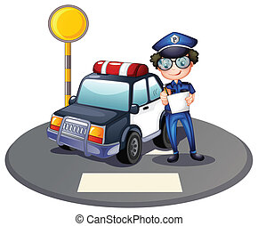 A police officer beside his patrol car - Illustration of a...