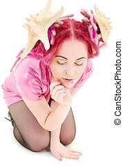 pink dress - picture of bizarre pink hair girl in latex...