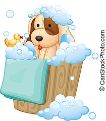 A dog inside a pail full of bubbles - Illustration of a dog...