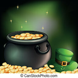 Gold coins inside a pot and a green hat