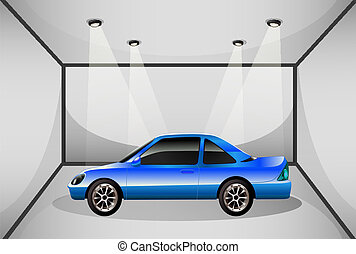 A blue tinted car inside the garage - Illustration of a blue...