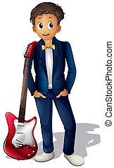 Um, músico, vermelho, Guitarra